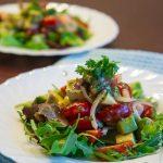 Салат из креветок с арахисовым маслом и Карпаччо из свеклы с маслом грецкого ореха