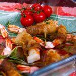Креветки в беконе с горчичным соусом