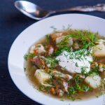 Суп из свежих грибов с домашней лапшой
