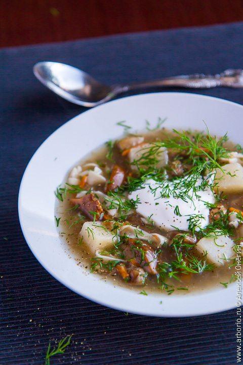 Суп из свежих грибов с домашней лапшой - фото
