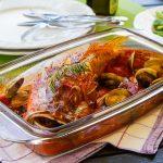 Рыба с овощами и вином
