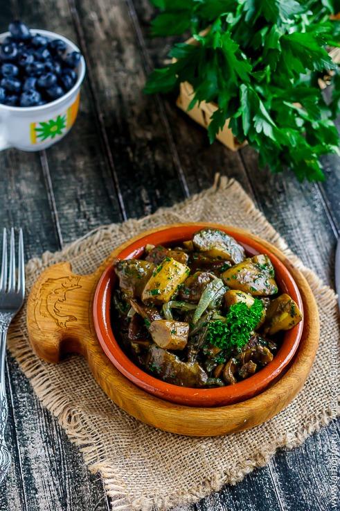 Жареные грибы с луком классический рецепт с фото